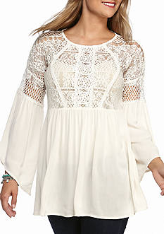 Society Girl Lace Yoke Juliet Peasant Top
