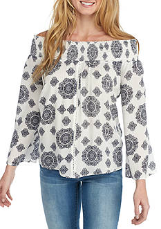 Society Girl Smock Medallion Printed Blouse