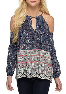 Society Girl Cold Shoulder Printed Woven Top