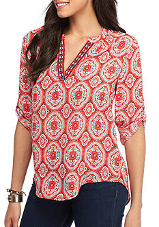 Society Girl Medallion Printed Woven Top