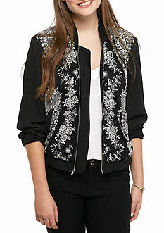 Trixxi Black Embroidered Bomber Jacket