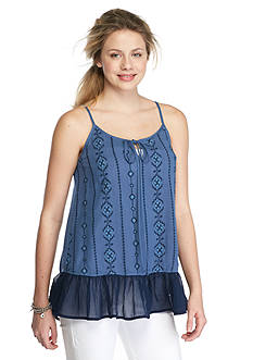 Society Girl Embroidered Ruffle Trim Tank