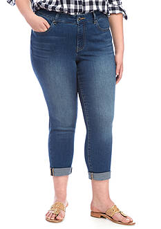 Crown & Ivy™ Plus Size 5 Pocket Demin Jean Crop Length