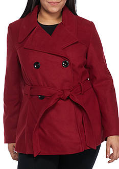 Rampage Plus Size Jessica Tie Peacoat