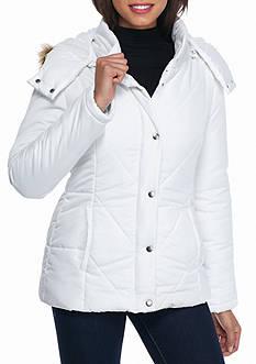 Rampage Diagonal Seam Puffer Coat