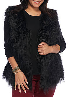 Rampage Plus Size Faux Fur Long Vest
