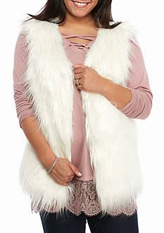 Rampage Plus Size Faux Fur Long Vest