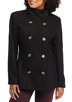 Rampage Funnel Collar Pea Coat