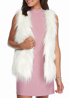 Rampage Shaggy Mid Length Faux Fur Vest