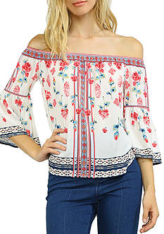 Flying Tomato Off The Shoulder Floral Placement Printed Top
