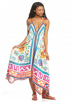 Flying Tomato Printed Asymmetrical Hem Maxi Dress