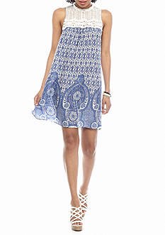 Flying Tomato Dress With High Neck Lace Top