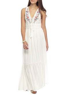 Flying Tomato Embroidered Floral Maxi Dress
