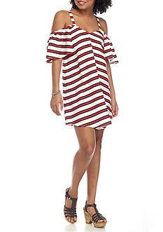 Flying Tomato Stripe Cold Shoulder Dress