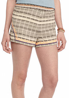 Flying Tomato Embroidered Trim Striped Linen Shorts