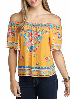 Flying Tomato Off The Shoulder Placement Printed Top