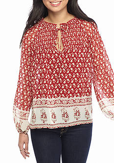 Flying Tomato Mock Tie Neck Floral Blouse