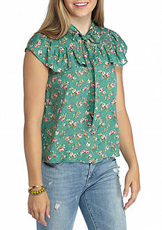 Flying Tomato Short Sleeve Floral Poet Blouse