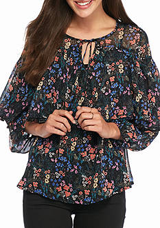 Flying Tomato Sheer Floral Poet Blouse