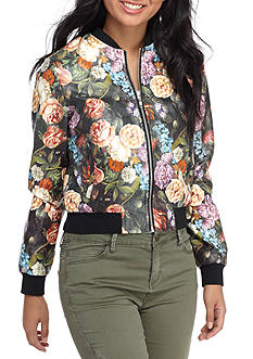 Flying Tomato Painted Floral Leather Bomber Jacket