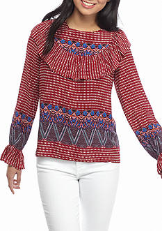 Jealous Tomato Long Sleeve Collar Print Top