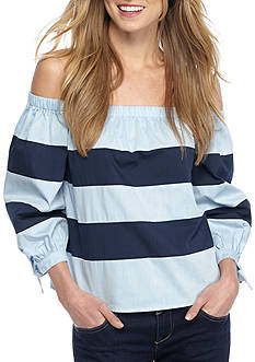 Jealous Tomato Wide Stripe Off The Shoulder Top