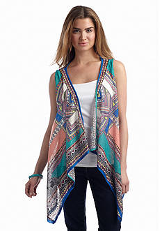 Flying Tomato Printed Sleeveless Cardigan