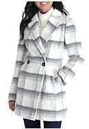 A. Byer Double Button Plaid Wool Coat