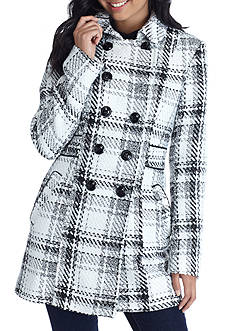 A. Byer Double Buttoned Plaid Wool Coat with Trim