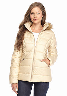 Krush Faux Fur Hood Zip Front Puffer Coat - Online Only