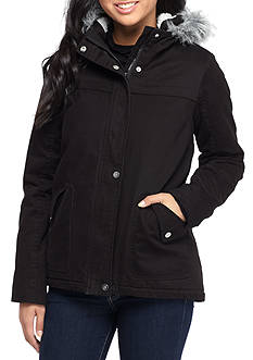 Krush Zip Front Puffer Coat With Faux Fur Hood