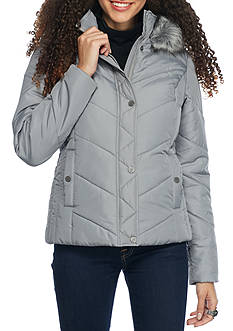 Krush Chevron Hooded Puffer Coat