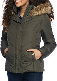 Krush Chevron Hooded Puffer Coat