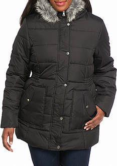 Krush Plus Size Ruched Puffer Coat