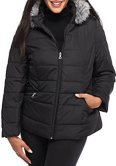 Krush Plus Size Zip Front Hooded Puffer