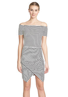 1.State Off The Shoulder Stripe Dress