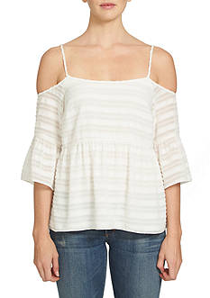 1. State Cold Shoulder Ruffle Sleeve Blouse