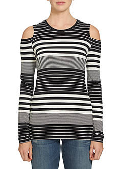 1. State Cold Shoulder Stripe Knit Top