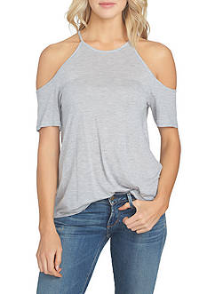 1. State High Neck Flounce Knit Cold Shoulder