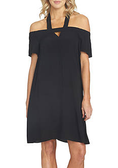 1. State Halter Cold Shoulder Shift Dress