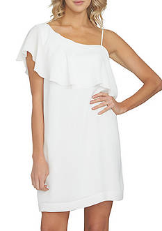 1. State One Shoulder Ruffle Shift Dress