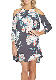 1. State Long Sleeve Cold Shoulder Floral Dress
