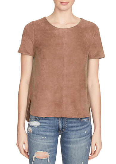 1. State Short Sleeve Faux Suede Top
