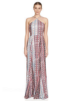 1.State Printed Halter Neck Maxi Dress