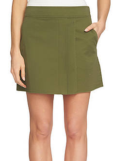 1. State Wrap Front Twill Mini Skirt