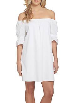 1. State Off the Shoulder Poplin Dress