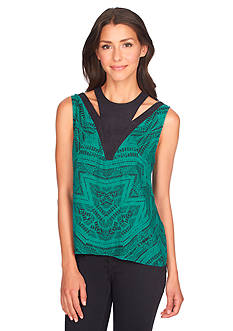 1. State Sleeveless Nomad Etching Blouse
