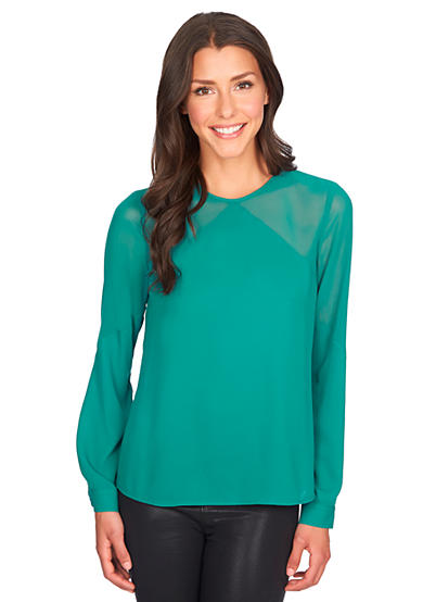 1. State Long Sleeve Sheer Yoke Blouse