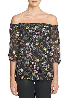 1. State Off The Shoulder Floral Chiffon Blouse