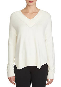 1. State Rib Trim V-Neck Sweater